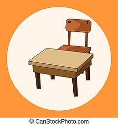 classe, bureau, et, chaise, thème, éléments, vecteur