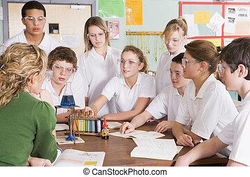 classe ciência, professor, schoolchildren