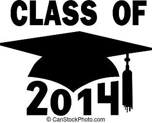 classe, de, 2014, faculdade, escola secundária, boné graduação