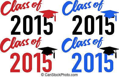 classe, de, 2015, escola, graduação, data, boné