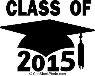 classe, de, 2015, faculdade, escola secundária, boné graduação