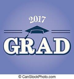 classe, de, 2017, parabéns, graduado, tipografia