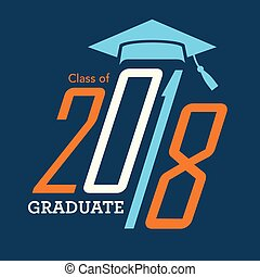classe, de, 2018, parabéns, graduado, tipografia