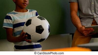 classe, debout, école, africaine, football, américain, 4k, écolier