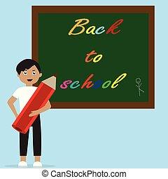 classe, debout, 10., connaissance, prof, blackboard., dos, jour, day., s, gosse, eps, ou, carte, school.