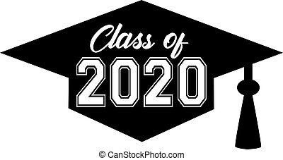 classe, dentro, 2020, berretto laurea