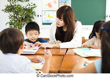 classe, dessin, enfants, prof