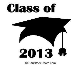 classe, di, 2013, mortarboard.