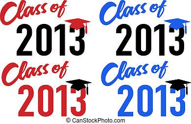 classe, di, 2013, scuola, graduazione, data, berretto