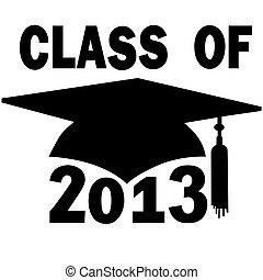 classe, di, 2013, università, liceo, berretto laurea