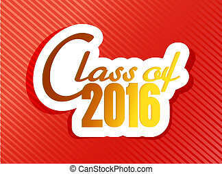 classe, di, 2016., graduazione, illustrazione