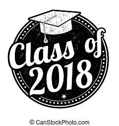 classe, di, 2018, francobollo