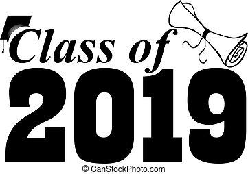 classe, di, 2019, con, berretto laurea