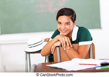 classe escola, menina, sentando