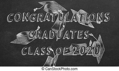 classe, félicitations, 2020., graduates.