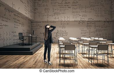 classe, femme, moderne