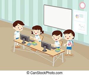 classe, garçon, fonctionnement, étudiants, informatique, girl