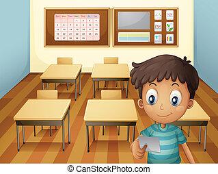 classe, garçon, intérieur, jeune