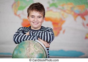 classe, globe, preadolescence, enfant, penchant