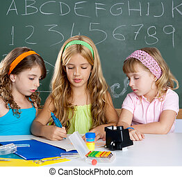 classe, gosses école, groupe, filles, étudiant