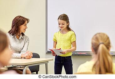 classe, gosses école, groupe, prof
