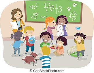 classe, gosses, stickman, animaux familiers