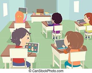 classe, gosses, stickman, tablette, illustration