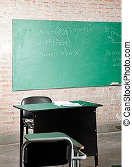 classe, greenboard, meubles
