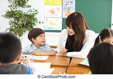 classe, heureux, dessin, enfants, prof