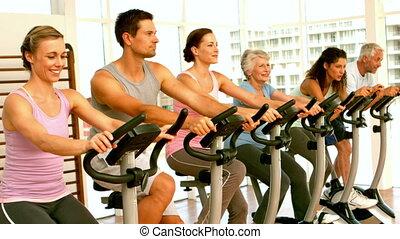 classe, heureux, rue, rotation, fitness