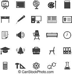 classe, icônes, blanc, fond
