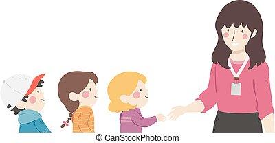 classe, illustration, introduction, poignée de main, gosses