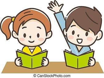classe, illustrazione, bambini