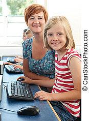 classe, informatique, pupille, femme, élémentaire, portrait, prof