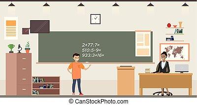classe, intérieur, école