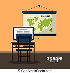 classe, intérieur, salle