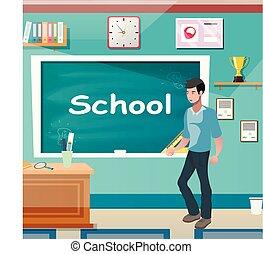classe, lição, homem, jovem, professor