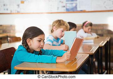 classe, livres, lecture, élèves, séance