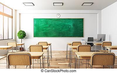 classe, lumière, intérieur