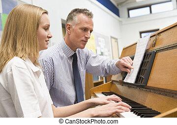 classe, musique, écolière, piano joue, prof