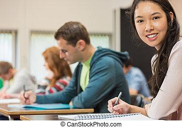 classe, notes, femme, écriture, étudiant, autres
