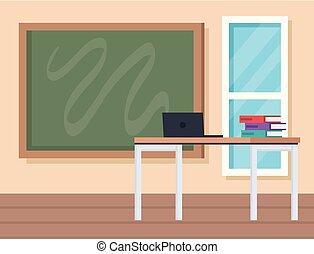 classe, ordinateur portable, livres, education, bureau
