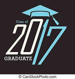 classe, parabéns, 2017, tipografia, graduado