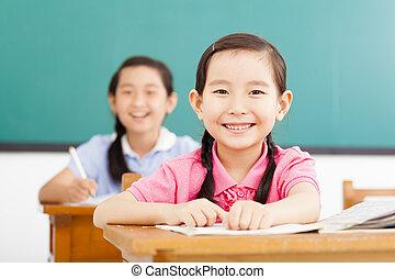 classe, petites filles, heureux
