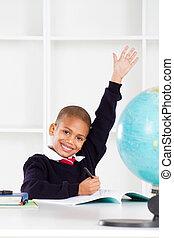 classe, premier, étudiant, élevant main