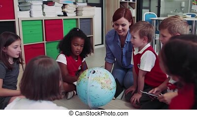 classe, prof, séance, plancher, groupe, learning., gosses, école, petit