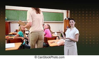 classe, projection, femme, vidéos