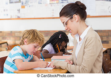 classe, pupille, joli, prof, portion