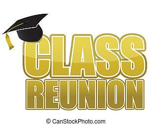 classe, reunião, boné graduação
