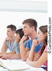 classe, séance, écoute, étudiants, groupe